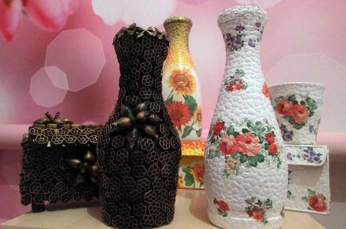 Декупаж из бутылки сделать вазу своими руками 34
