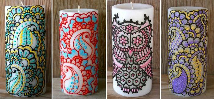 вариант оригинального декора свечей своими руками