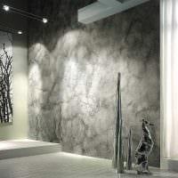 идея яркой декоративной штукатурки в декоре ванной комнаты картинка