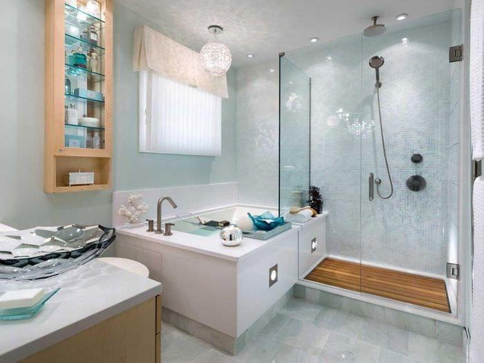 идея красивой декоративной штукатурки в дизайне ванной комнаты