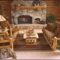 красивый стиль гостиной в стиле рустик фото