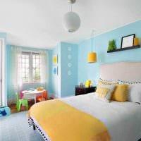 светлый стиль спальни в голубом цвете фото