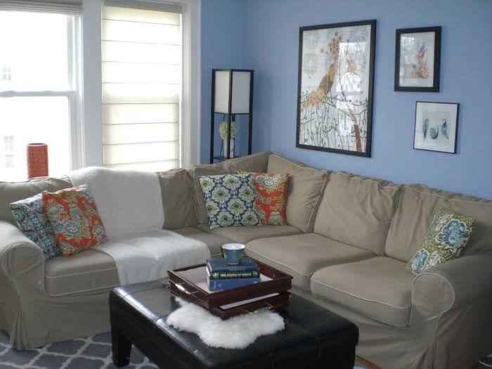 красивый дизайн квартиры в голубом цвете