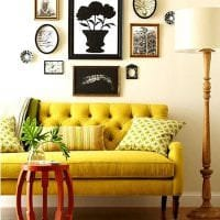 красивый дизайн гостиной в горчичном цвете фото