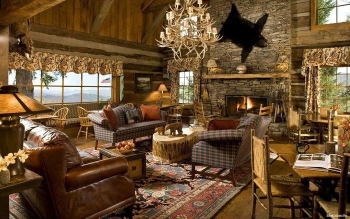 классический стиль комнаты в стиле рустик