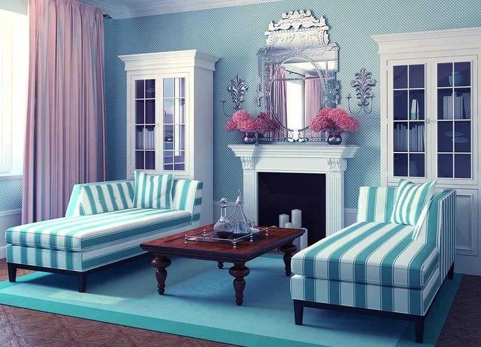красивый стиль комнаты в голубом цвете