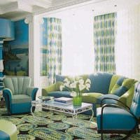 яркий декор комнаты в голубом цвете фото