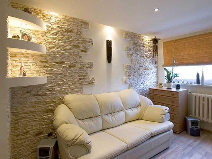 светлый гибкий камень в дизайне квартиры