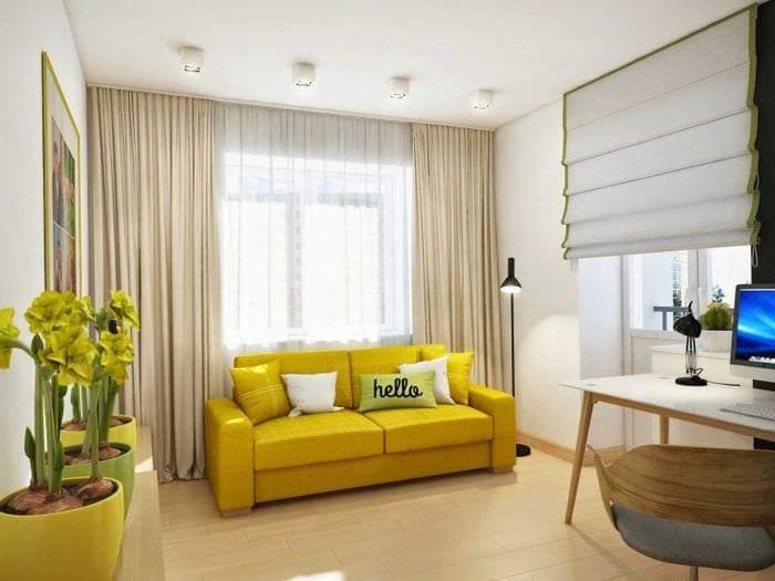 красивый дизайн комнаты в горчичном цвете