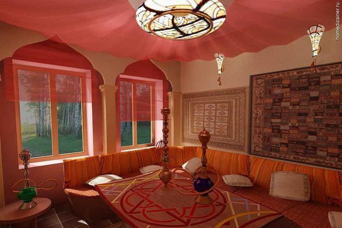 яркий дизайн комнаты в восточном стиле