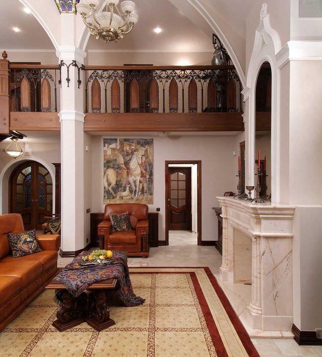 яркий дизайн комнаты в готическом стиле