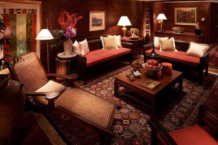 красивый интерьер спальни в восточном стиле