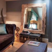оригинальный интерьер комнаты со спилами дерева картинка