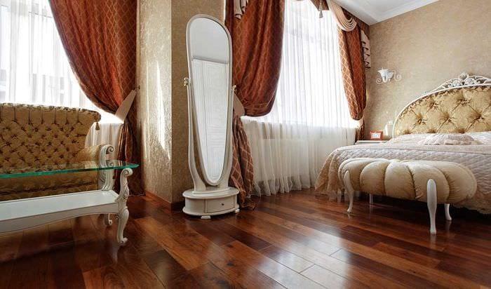 необычный темный пол в дизайне спальни