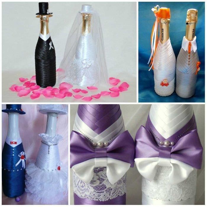 Как красиво украсить бутылку на свадьбу своими руками 35