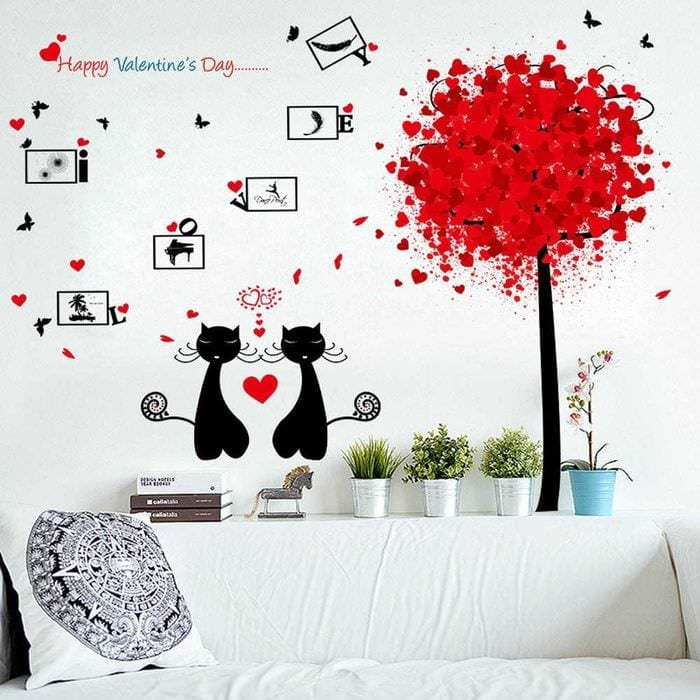 яркое оформление комнаты подручными материалами на день святого валентина