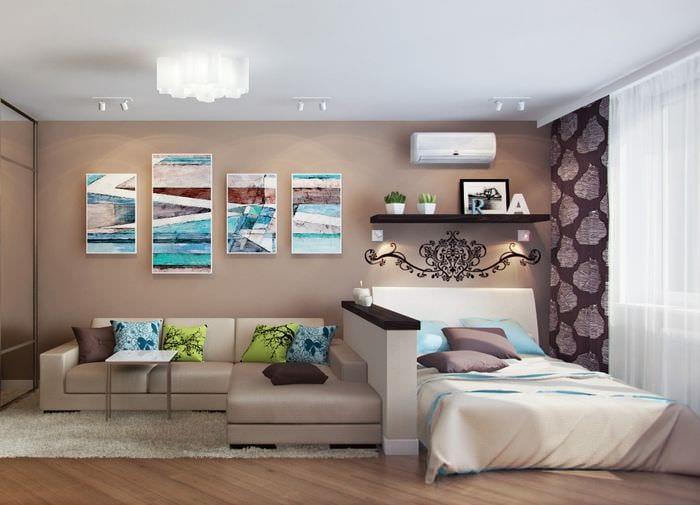 вариант красивого интерьера гостиной комнаты 17 кв.метров