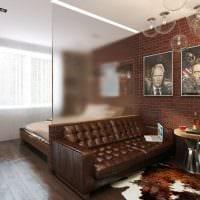 вариант яркого стиля гостиной комнаты 17 кв.метров картинка