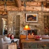 идея красивого интерьера гостиной в деревенском стиле фото