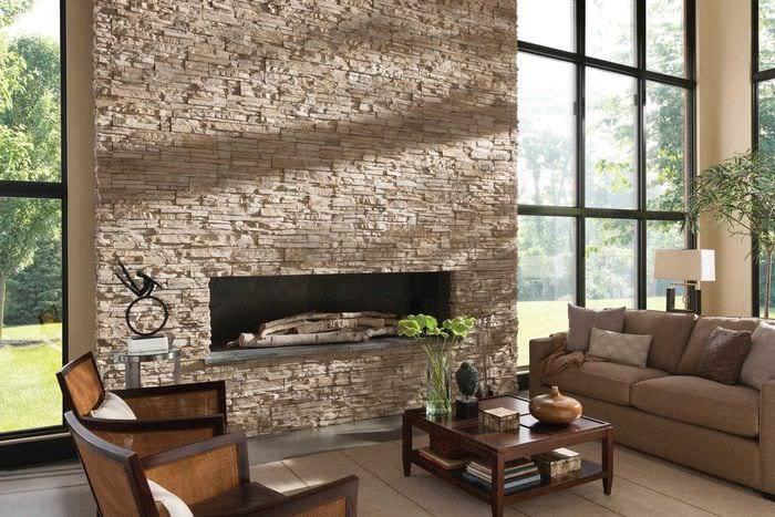 идея оригинального декоративного камня в интерьере комнаты