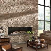 идея необычного декоративного камня в дизайне квартиры картинка