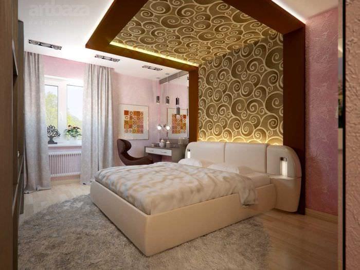 вариант яркого декорирования стиля спальной комнаты
