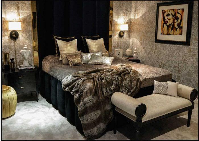 идея необычного декорирования интерьера спальни