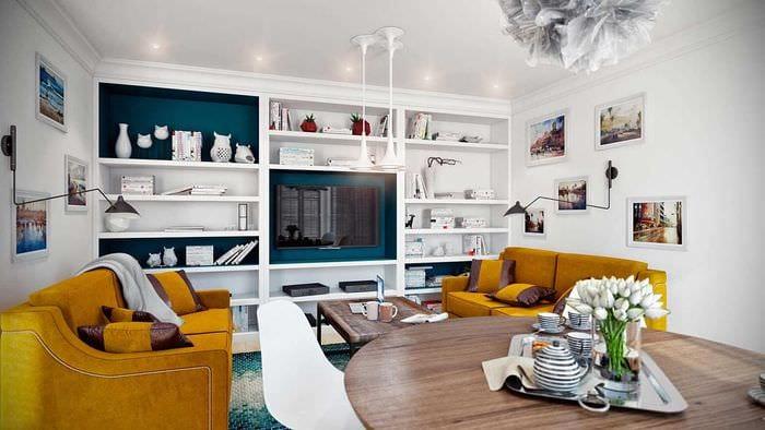 вариант современного декора гостиной 3-х комнатной квартиры