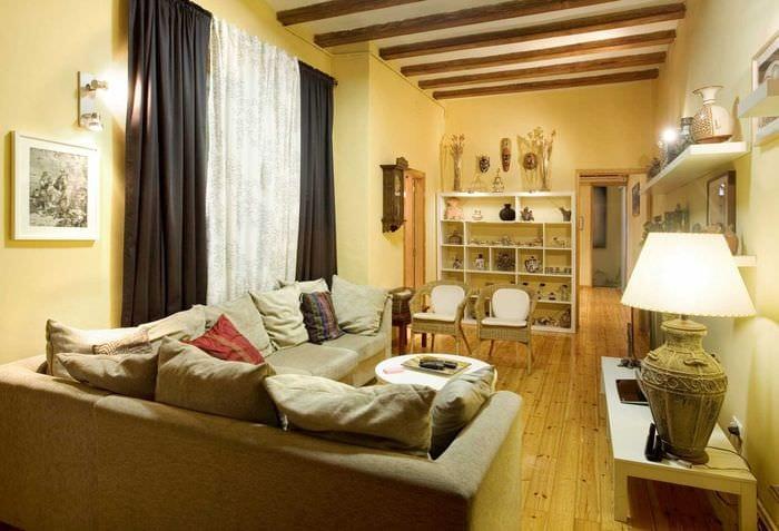 вариант современного стиля гостиной комнаты 17 кв.метров