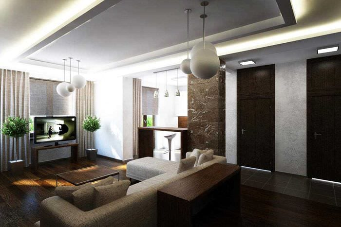 идея оригинального дизайна кухни 3-х комнатной квартиры