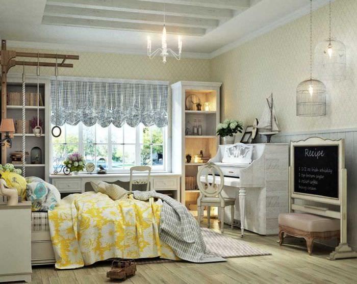 вариант яркого стиля комнаты с декоративной клеткой