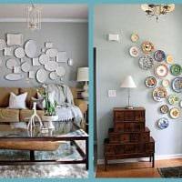 идея красивого интерьера квартиры с декоративными тарелками на стену фото