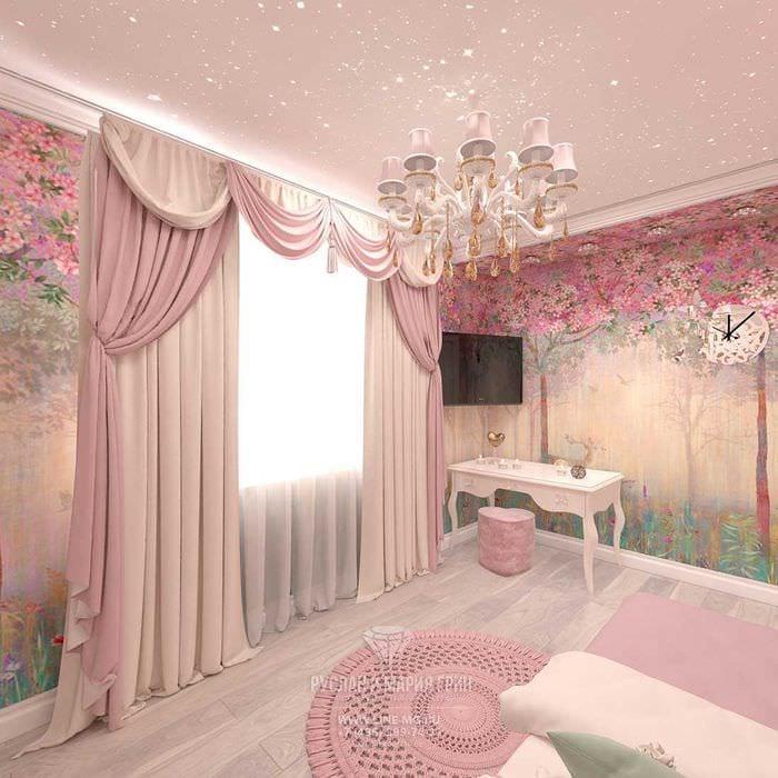вариант оригинального декора спальни для девочки