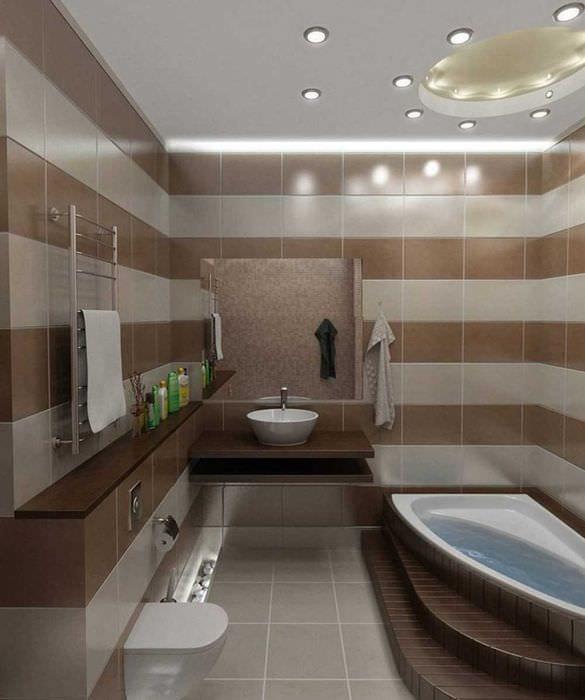 вариант яркого интерьера ванной комнаты