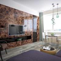 вариант необычного оформления стен в гостиной фото