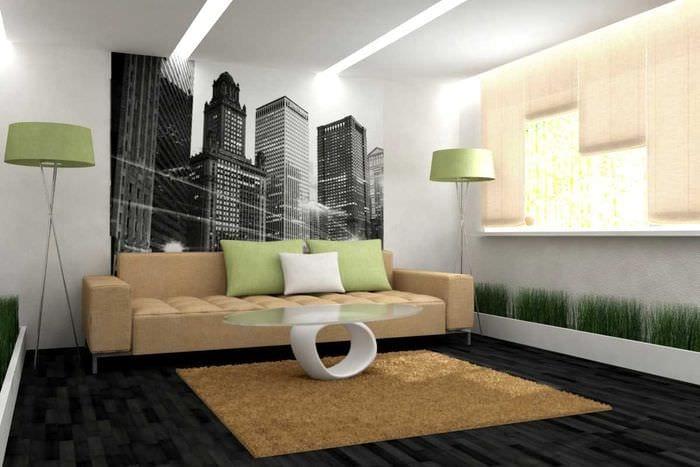 вариант необычного украшения стен в гостиной