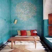 идея оригинальной декоративной штукатурки в дизайне спальни картинка