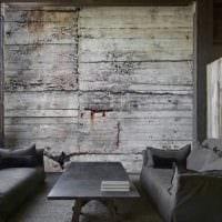 идея красивой декоративной штукатурки в стиле гостиной под бетон фото