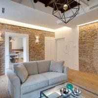 вариант красивого декоративного камня в интерьере квартиры фото