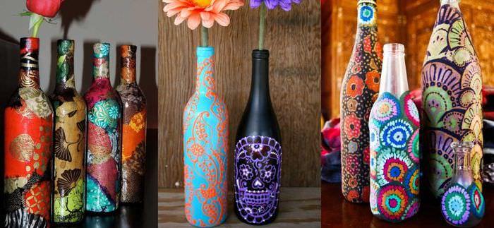 вариант необычного декорирования бутылок бисером