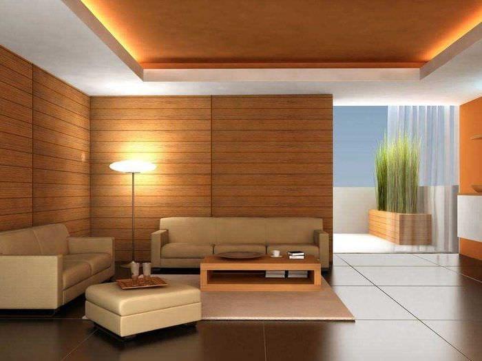 вариант необычного дерева в интерьере комнаты