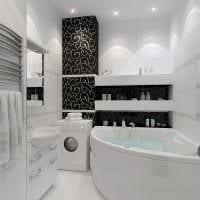 вариант необычного интерьера белой ванной фото