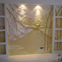 идея необычного дизайна комнаты с декоративным рисунком на стене фото