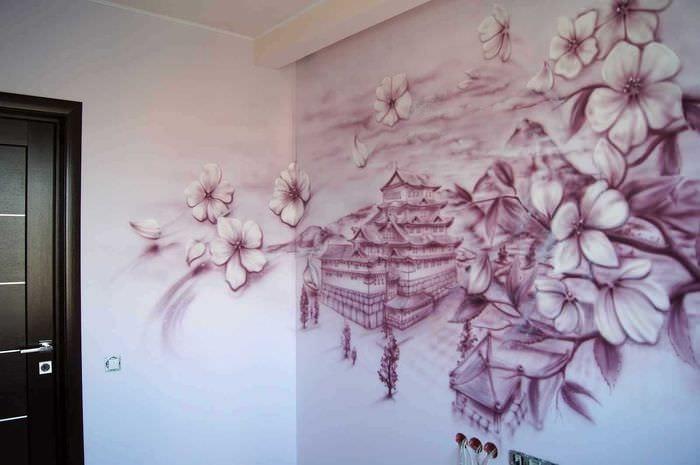 идея красивого декора квартиры с декоративным рисунком на стене