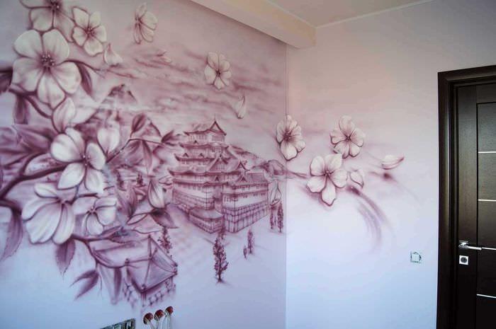 Фото сакуры на стене своими руками
