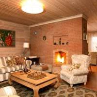вариант оригинального дизайна гостиной в деревенском стиле фото