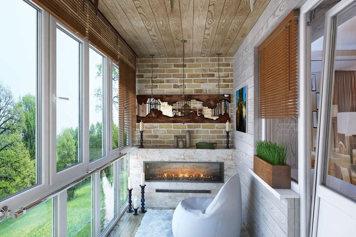 идея оригинального интерьера маленького балкона