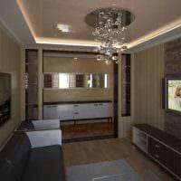 идея современного дизайна гостиной 3-х комнатной квартиры фото