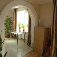 идея необычного дизайна спальни с аркой фото