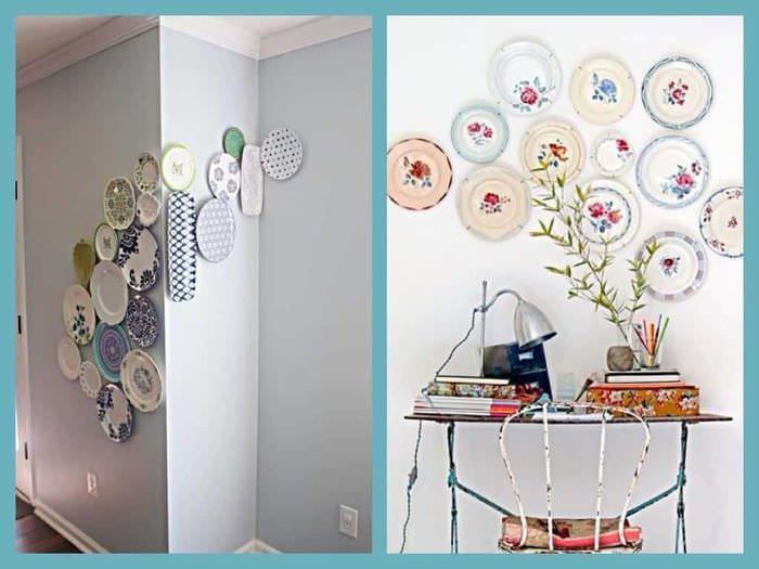 вариант современного интерьера комнаты с декоративными тарелками на стену